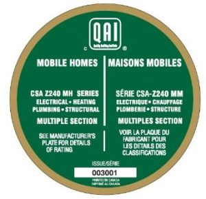 Sample of seal for multiple section manufactured homes