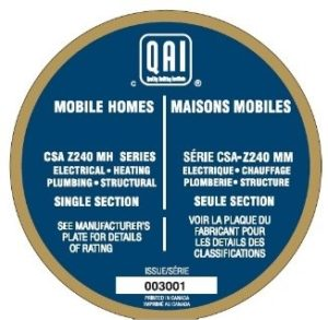 Sample of seal for single section manufactured homes