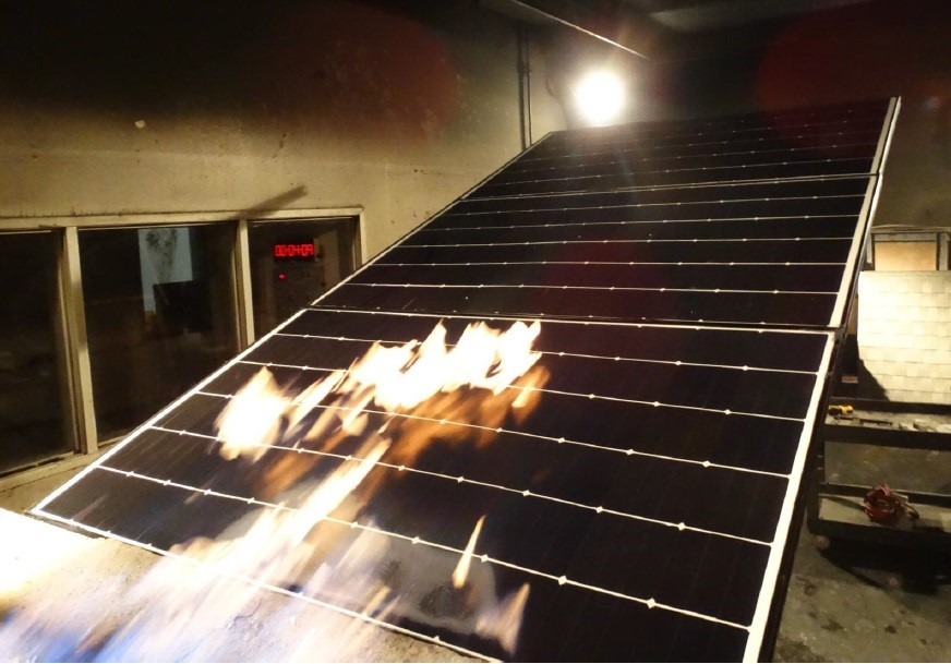 Photovoltaic Panel Fire Testing being made in QAI California laboratory
