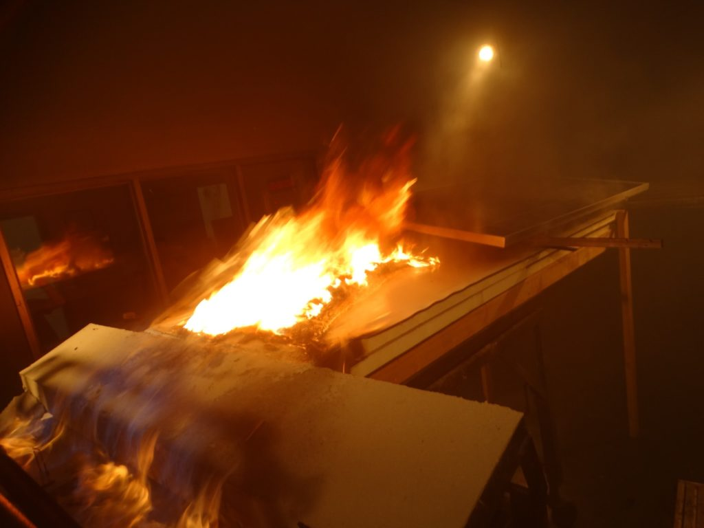 Photovoltaic Panel Fire Testing is performed by in a controlled way applying fire to a panel