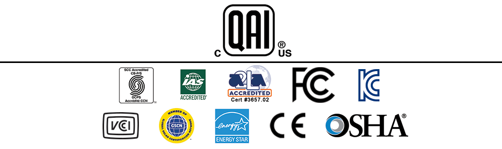 Logos of some of the companies that accredit QAI as a independent third party testing, inspection and certification laboratory