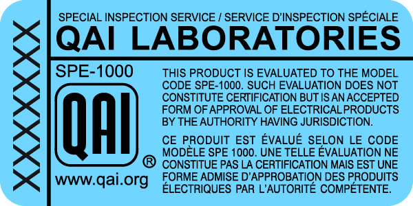 Label sample of Special Inspection under SPE-1000